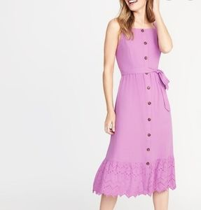 Old Navy Square Neck Button Front Midi Dress